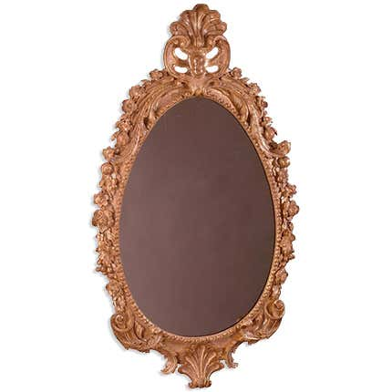 George II Giltwood Oval Mirror,  ca. 1745