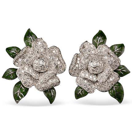 Oscar Heyman Gardenia Clip Earrings, 1980s