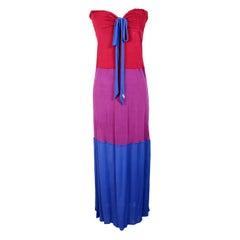 C'N'C Costume National Red Purple Blue Viscose Long Cocktail Dress