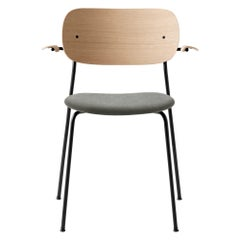 Co Chair Dining Chair Armchair with Natural Oak Frame and Grey Hallingdal Fabric