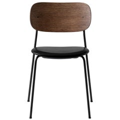 Co Chair, Dining Chair, Dark Stained Oak and Black Dakar Leather with No Armrest