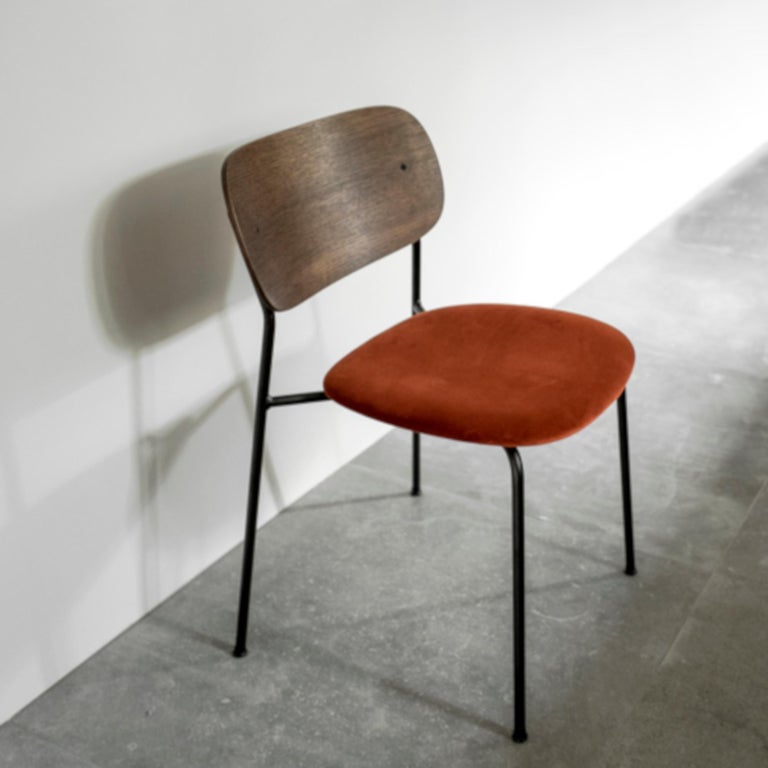 Scandinavian Modern Co Chair, Dining Chair, Dark Stained Oak Frame with City Velvet CA7832/062 'Red' For Sale