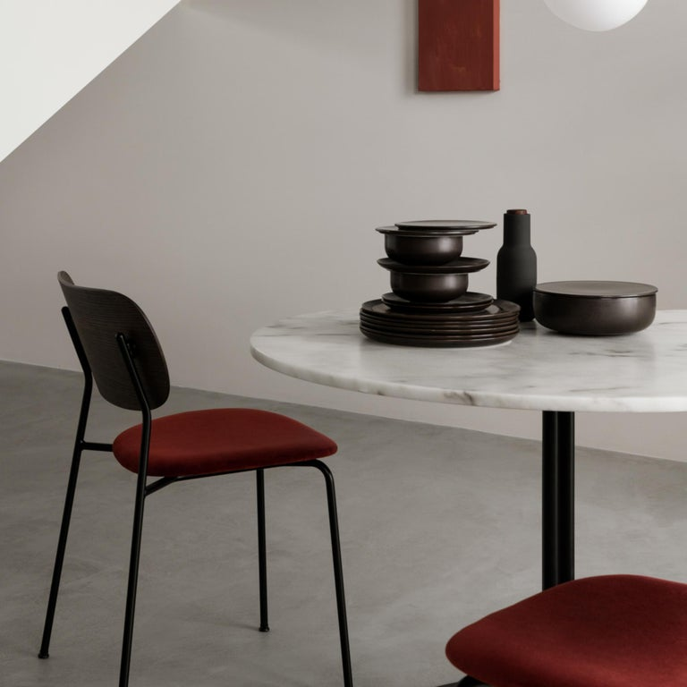 Chinese Co Chair, Dining Chair, Dark Stained Oak Frame with City Velvet CA7832/062 'Red' For Sale