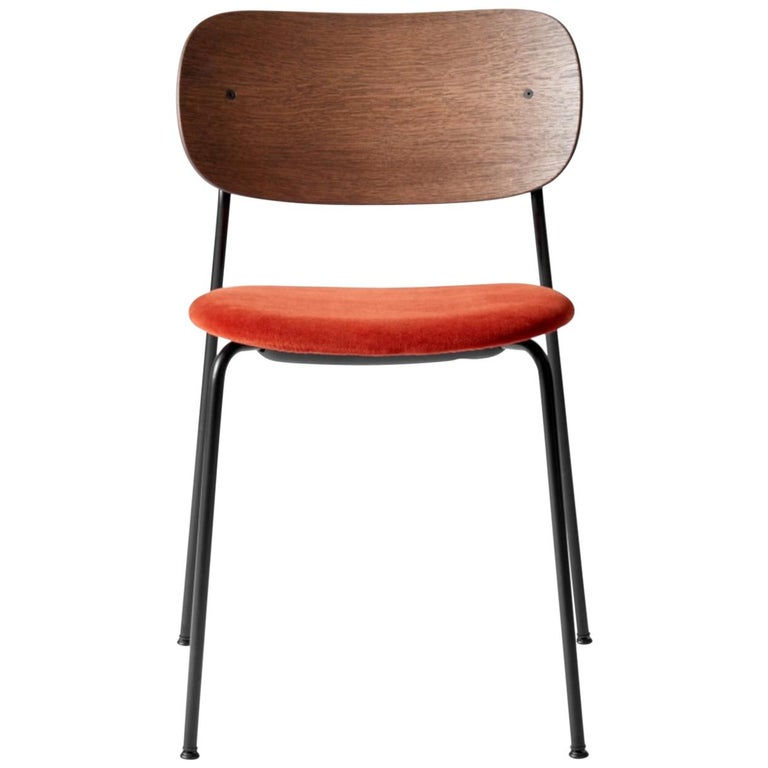 Co Chair, Dining Chair, Dark Stained Oak Frame with City Velvet CA7832/062 'Red' For Sale