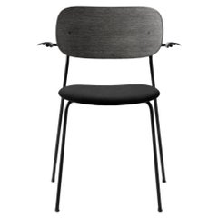 Co Chair, Dining Chair in Black Oak with Black Icon Leather and Armrest