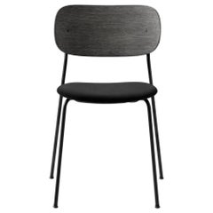 Co Chair, Dining Chair in Black Oak with Black Icon Leather and No Armrest
