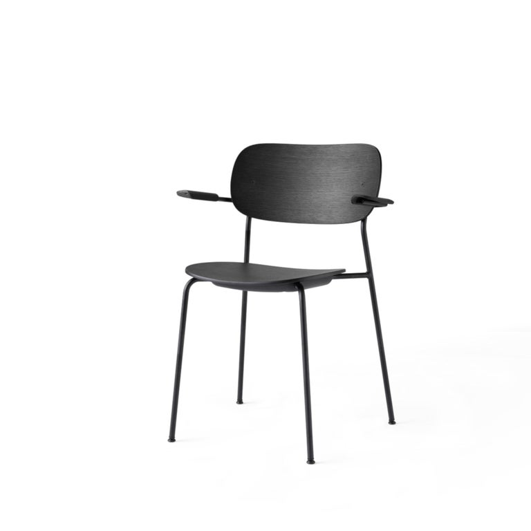Scandinavian Modern Co Chair, Dining Chair Made of Black Oak and with an Armrest For Sale