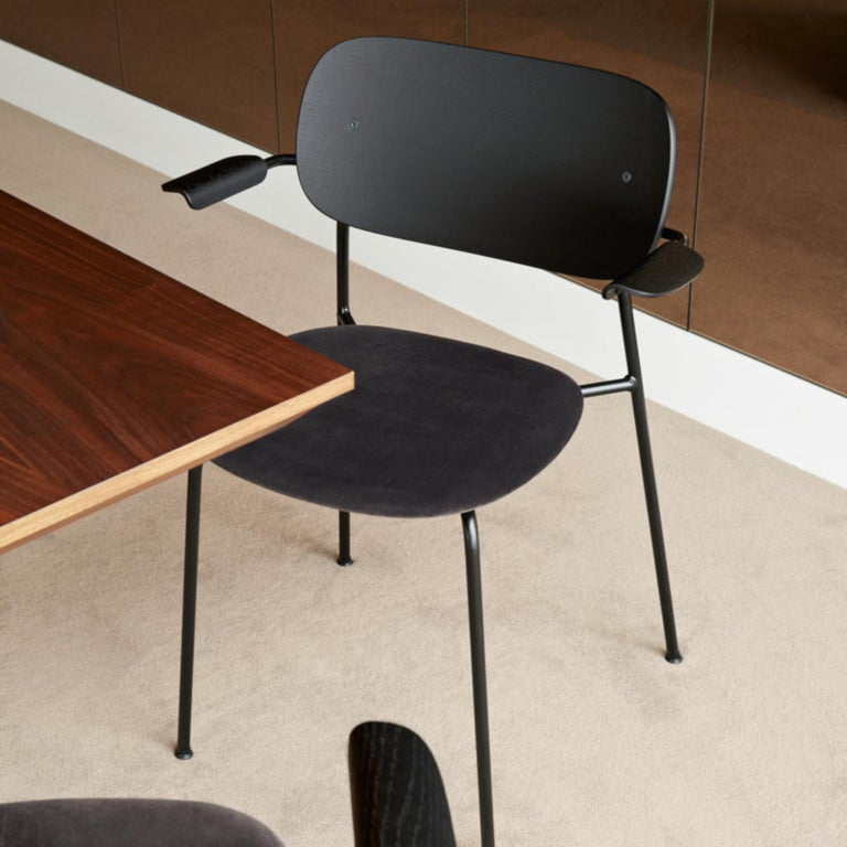 Powder-Coated Co Chair, Dining Chair Made of Black Oak and with an Armrest For Sale
