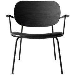 Co Chair, Lounge Chair with Black Oak Base and Black Dakar Leather Seat