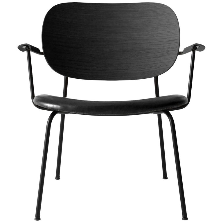 Co Chair, Lounge Chair with Black Oak Base and Black Dakar Leather Seat For Sale