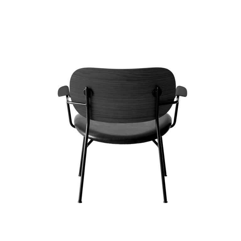 Scandinavian Modern Co Chair, Lounge Chair with Black Oak Base and Black Dakar Leather Seat For Sale
