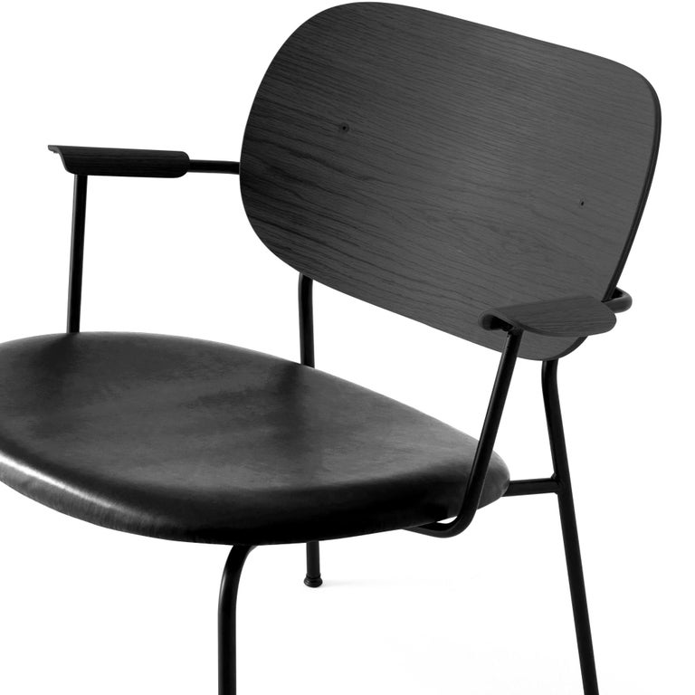Swedish Co Chair, Lounge Chair with Black Oak Base and Black Dakar Leather Seat For Sale