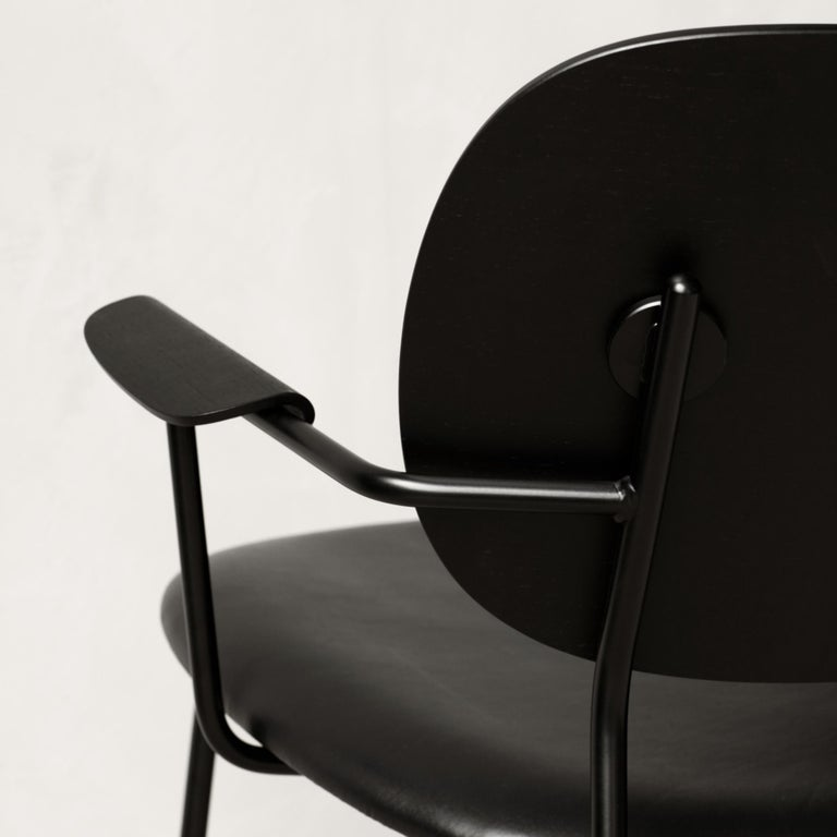 Powder-Coated Co Chair, Lounge Chair with Black Oak Base and Black Dakar Leather Seat For Sale
