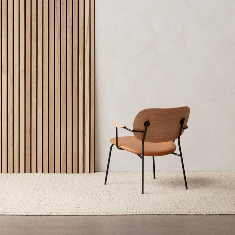 Scandinavian Modern Co Chair, Lounge Chair with Natural Oak Base and Cognac Dakar Leather Seat For Sale