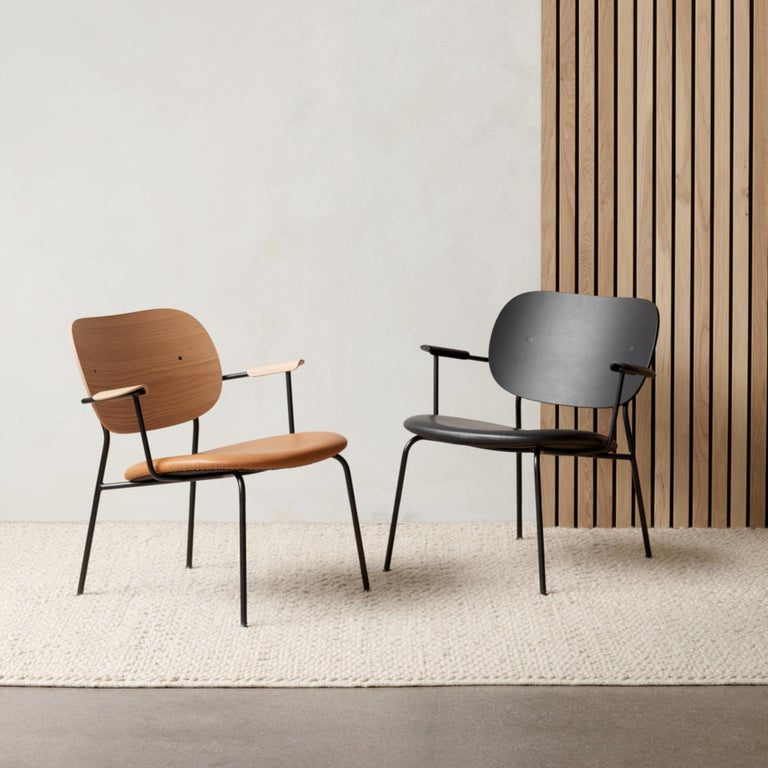 Contemporary Co Chair, Lounge Chair with Natural Oak Base and Cognac Dakar Leather Seat For Sale