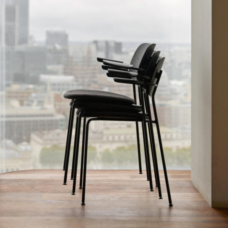 Co Chair, with Armrest, Black Icon '0842' Seat, Black Oak Back and Arms For Sale 2