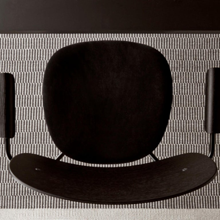 Scandinavian Modern Co Chair, with Armrest, Black Icon '0842' Seat, Black Oak Back and Arms For Sale