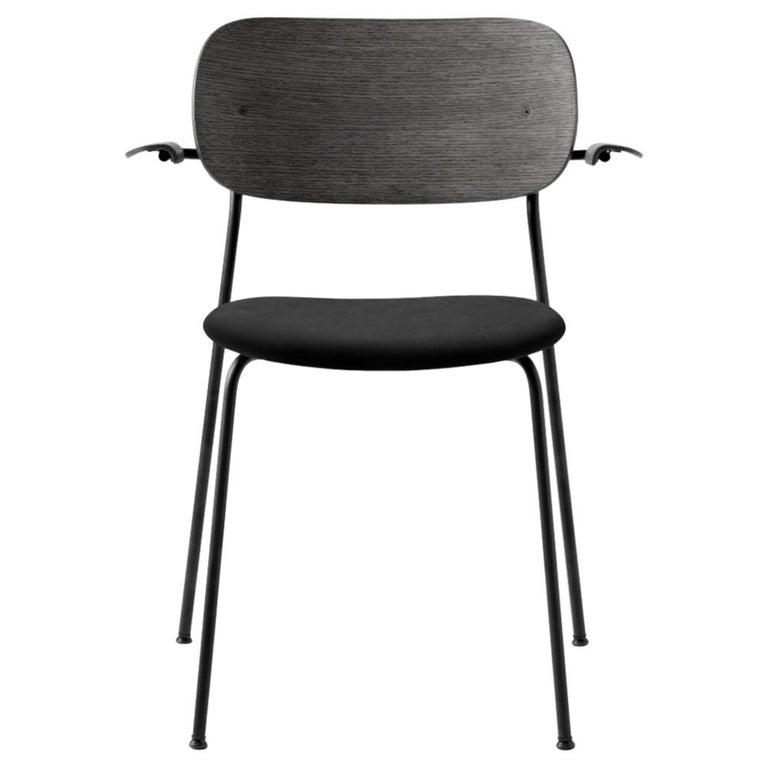 Co Chair, with Armrest, Black Icon '0842' Seat, Black Oak Back and Arms For Sale