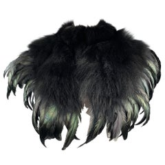 CO Mixed Materials Black Fox Fur Feathers Shawl