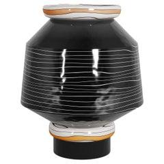 Coa Decorative Vase, Black White Round Vase, Contemporary Design Ceramic Jar