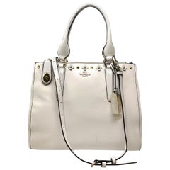 Coach 37400 Crosby Carryall in Floral Rivets Leather Chalk Women's Bag