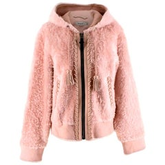 Coach Baby Pink Shearling Leather Zipped Jacket 4