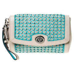 Coach Beige/Blue Caning Leather Flap Wristlet Clutch