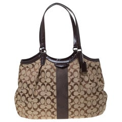 Coach Beige/Brown Signature Canvas and Patent Leather Shoulder Bag