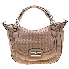 Coach Beige Leather and Woven Detail Kristin Shoulder Bag