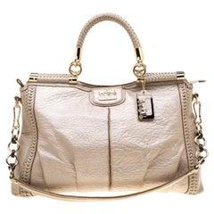 Coach Beige Woven Leather Dowel Caroline Top Handle Bag