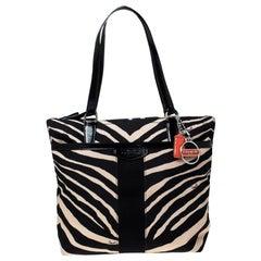 Coach Black/Cream Zebra Print Canvas and Patent Leather Tote