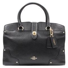 Coach Black Grain Leather Mercer 24 Women's Satchel Bag 37779