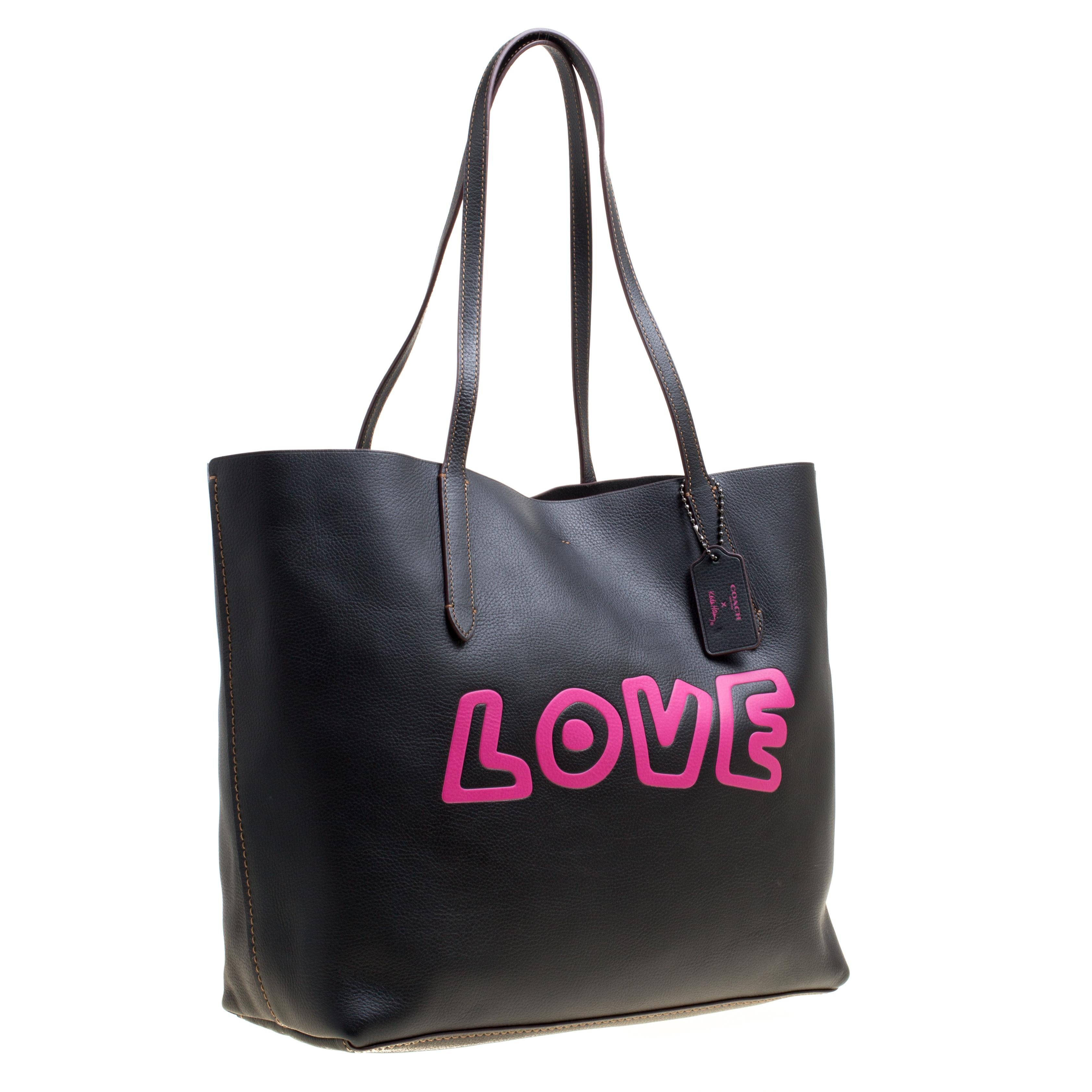 72e4b8d3dd05 wholesale womens best selling bags coach 07d36 cc2ae  low price coach black  leather keith haring love shopper tote in new condition for sale in