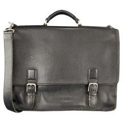 COACH Black Leather Shoulder Strap Double Closure Briefcase