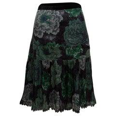 Coach Black & Multicolor x Kaffe Silk Floral Print Skirt