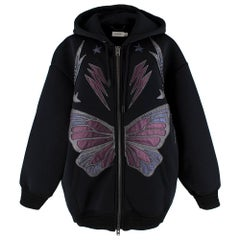 Coach Black Oversized Leather Butterfly Hooded Jacket XS