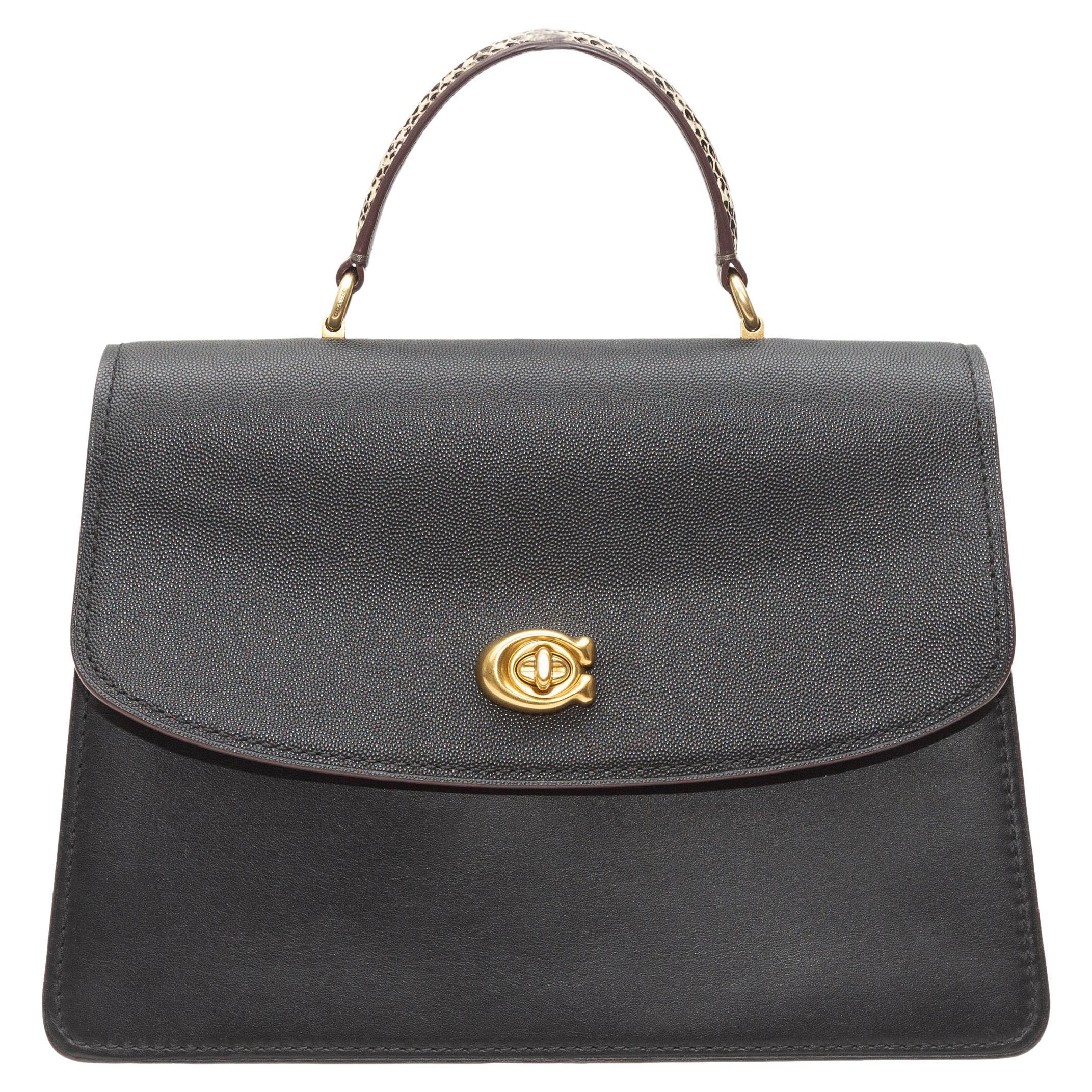 Coach Black Parker Leather & Snakeskin Bag