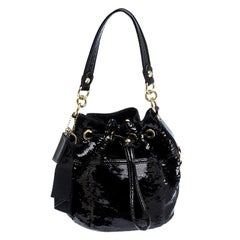 Coach Black Sequin and Patent Leather Poppy Pop Drawstring Bag