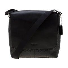 Coach Black Signature Embossed Leather Charles Messenger Bag