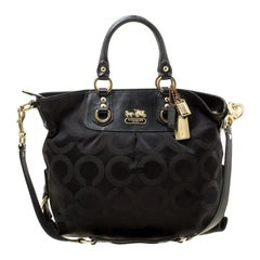 Coach Black Signature Fabric and Leather Ashley Top Handle Bag