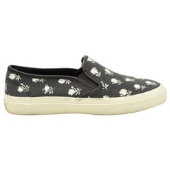 Coach Black & White Floral Print Slip-On Sneakers