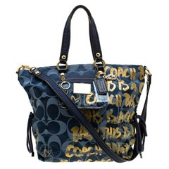 Coach Blue/Gold Signature Canvas Poppy Graffiti Glam Tote