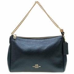 Coach Blue Metallic Leather Carrie Crossbody Bag