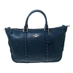 Coach Blue Pebbled Leather Studded Satchel