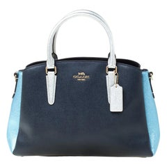 Coach Blue/Silver Leather Sage Carryall Satchel