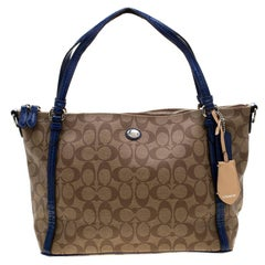Coach Brown/Blue Signature Coated Canvas and Patent Leather Tote