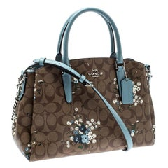 Coach Brown/Blue Signature Coated Canvas Sage Carryall Satchel