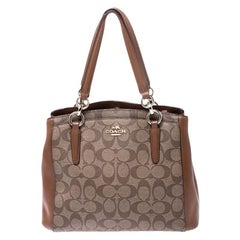 Coach Brown Coated Canvas and Leather Carryall Satchel