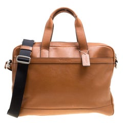 Coach Brown Leather Single Zip Top Briefcase