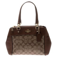 Coach Brown Signature Coated Canvas and Leather Brooke Caryall Satchel
